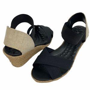 Mr. Cat Comfort Black Crisscross Espadrille Wedges